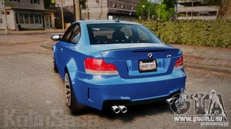 BMW 1M 2011 Carbon pour GTA 4 Vue arrière de la gauche