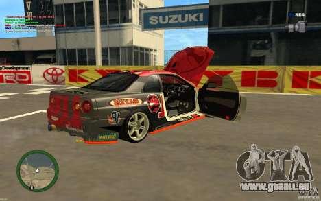 Nissan Skyline R34 Hell Energy für GTA San Andreas zurück linke Ansicht
