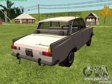 AZLK 412 pour GTA San Andreas sur la vue arrière gauche