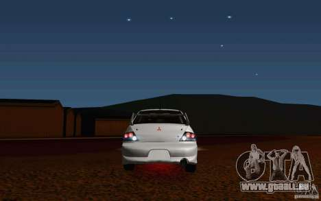 Mitsubishi Lancer Evo VIII GSR für GTA San Andreas Rückansicht