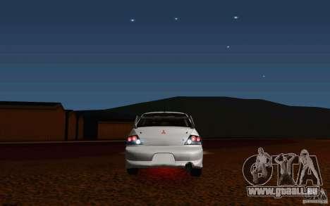 Mitsubishi Lancer Evo VIII GSR pour GTA San Andreas vue arrière