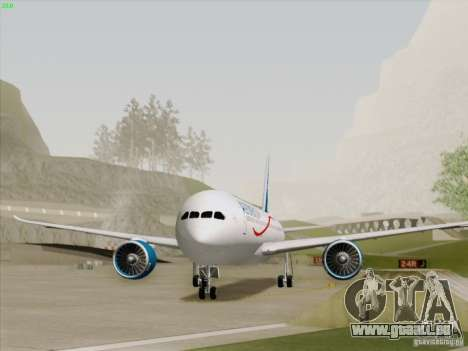 Boeing 787-8 Dreamliner AeroMexico pour GTA San Andreas sur la vue arrière gauche