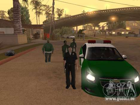 Chevrolet Cruze Carabineros Police für GTA San Andreas obere Ansicht