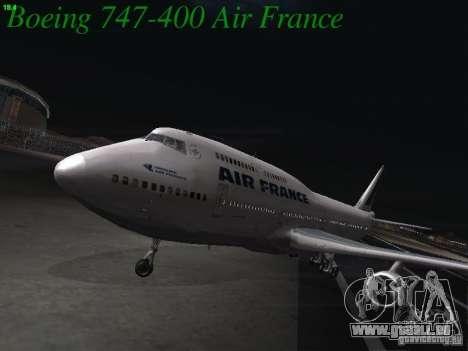 Boeing 747-400 Air France für GTA San Andreas linke Ansicht