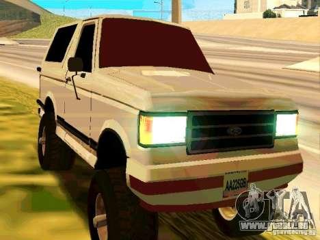 Ford Bronco 1990 pour GTA San Andreas laissé vue