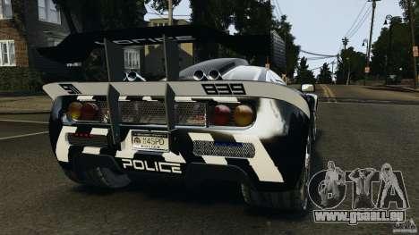 McLaren F1 ELITE Police pour GTA 4 Vue arrière de la gauche