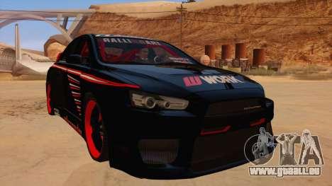 Mitsubishi Lancer Evolution X Pro Street für GTA San Andreas Rückansicht
