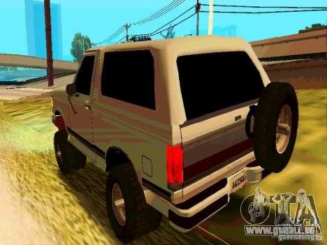 Ford Bronco 1990 pour GTA San Andreas sur la vue arrière gauche