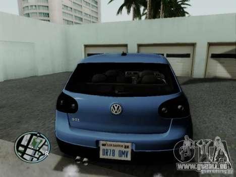 Volkswagen Golf V R32 Black edition für GTA San Andreas zurück linke Ansicht