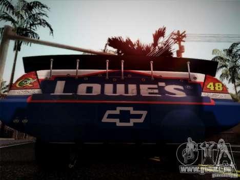 Chevrolet Impala SS Nascar Nr.48 pour GTA San Andreas sur la vue arrière gauche
