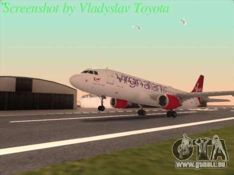 Airbus A320-211 Virgin Atlantic pour GTA San Andreas sur la vue arrière gauche