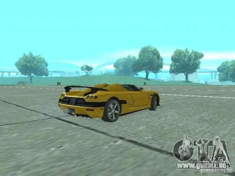 Koenigsegg Agera pour GTA San Andreas sur la vue arrière gauche