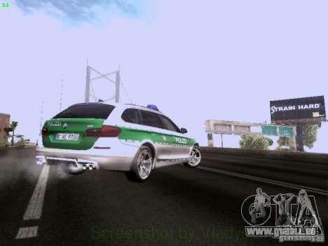 BMW M5 Touring Polizei für GTA San Andreas obere Ansicht