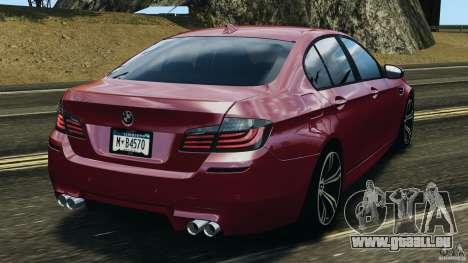 BMW M5 2012 pour GTA 4 Vue arrière de la gauche