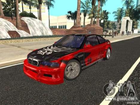 BMW M3 GTR de NFS Most Wanted pour GTA San Andreas vue de dessus