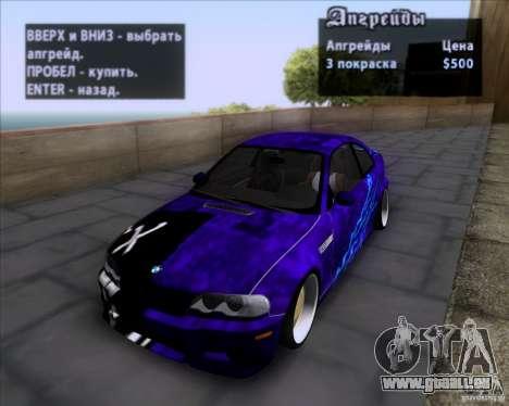BMW 3-er E46 Dope pour GTA San Andreas vue de dessous