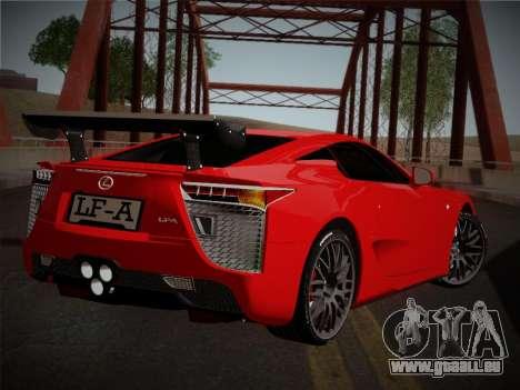 Lexus LFA Nürburgring Edition pour GTA San Andreas sur la vue arrière gauche