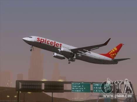 Boeing 737-8F2 Spicejet für GTA San Andreas Rückansicht