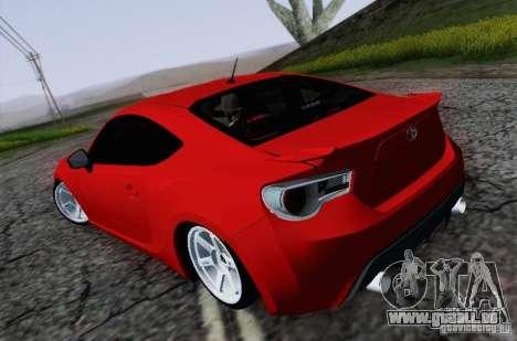 Toyota GT86 pour GTA San Andreas sur la vue arrière gauche