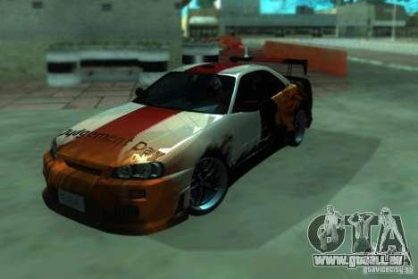 Nissan Skyline GT-R34 für GTA San Andreas Rückansicht