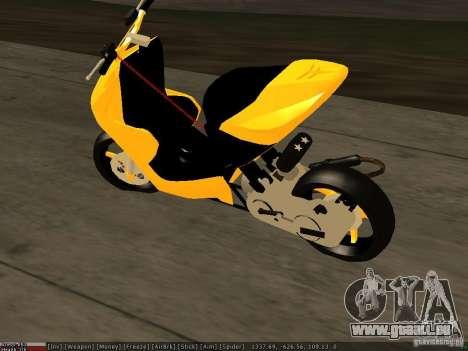 Yamaha Aerox pour GTA San Andreas sur la vue arrière gauche