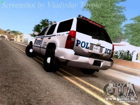 Chevrolet Tahoe 2007 NYPD für GTA San Andreas zurück linke Ansicht