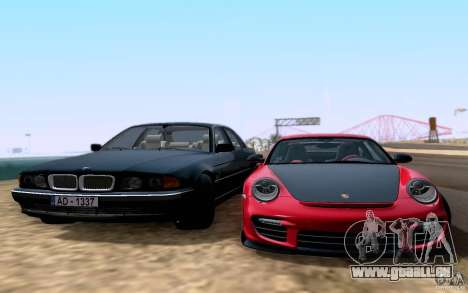 BMW 730i E38 für GTA San Andreas zurück linke Ansicht