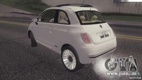 Fiat 500 Lounge 2010 pour GTA San Andreas sur la vue arrière gauche