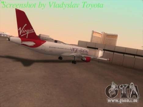 Airbus A320-211 Virgin Atlantic pour GTA San Andreas vue arrière