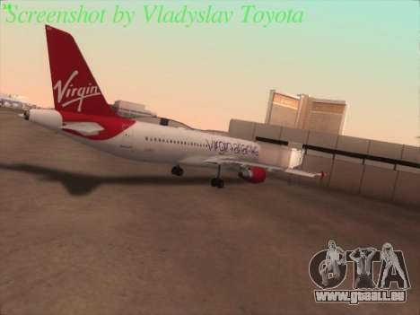 Airbus A320-211 Virgin Atlantic für GTA San Andreas Rückansicht