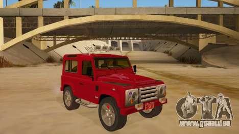 Land Rover Defender für GTA San Andreas Rückansicht