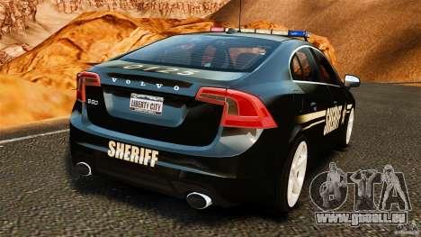 Volvo S60 Sheriff pour GTA 4 Vue arrière de la gauche