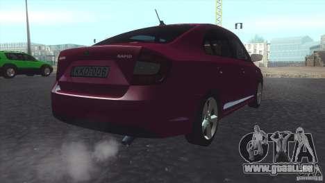 Skoda Rapid 1.6 C.R TDi 2013 V1 pour GTA San Andreas laissé vue