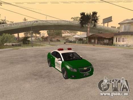 Chevrolet Cruze Carabineros Police für GTA San Andreas Rückansicht