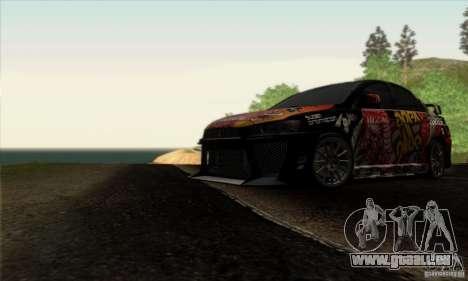 Mitsubishi Lancer Evolution X 2008 pour GTA San Andreas salon