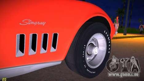 Chevrolet Corvette (C3) Stingray T-Top 1969 pour GTA Vice City vue arrière