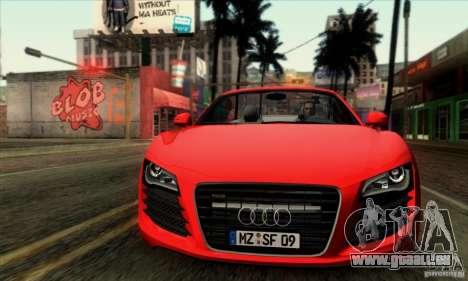 Audi R8 Spyder Tunable pour GTA San Andreas sur la vue arrière gauche