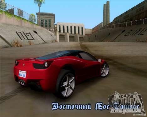 Ferrari 458 Italia V12 TT Black Revel pour GTA San Andreas salon