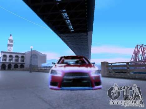 Mitsubishi Lancer Evolution X v2 Make Stance für GTA San Andreas Rückansicht