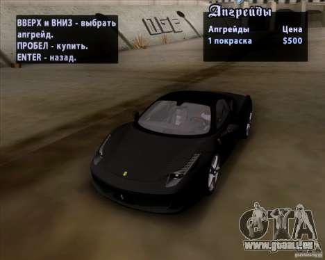 Ferrari 458 Italia V12 TT Black Revel für GTA San Andreas Innenansicht