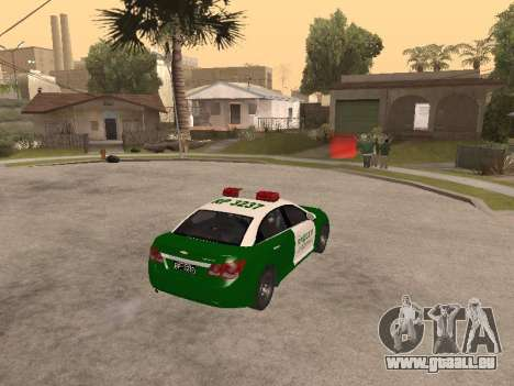 Chevrolet Cruze Carabineros Police für GTA San Andreas rechten Ansicht