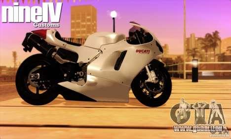 Ducati Desmosedici RR 2012 pour GTA San Andreas sur la vue arrière gauche