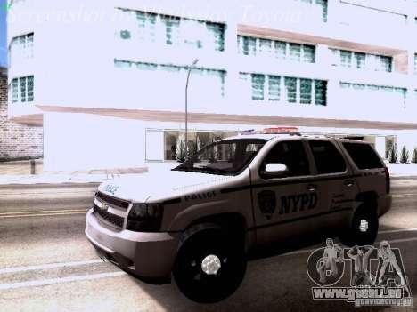 Chevrolet Tahoe 2007 NYPD pour GTA San Andreas laissé vue