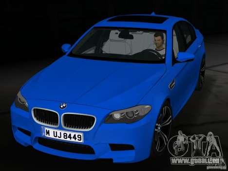 BMW M5 F10 2012 pour une vue GTA Vice City de l'intérieur