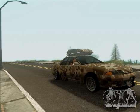 Nissan Skyline R33 Army pour GTA San Andreas sur la vue arrière gauche