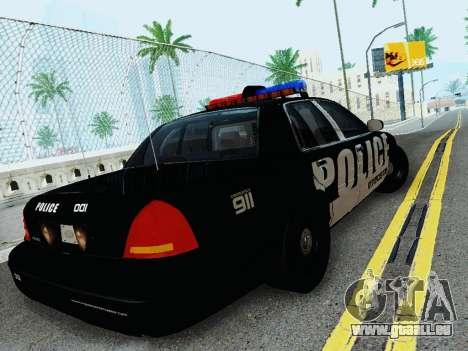 Ford Crown Victoria Police Interceptor 2011 pour GTA San Andreas vue de droite