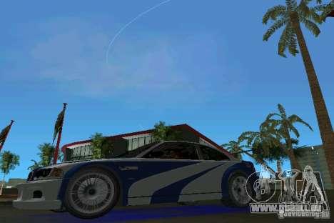 BMW M3 GTR NFSMW pour une vue GTA Vice City de la gauche