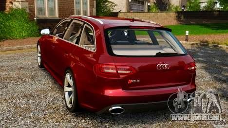 Audi RS4 Avant 2013 pour GTA 4 Vue arrière de la gauche