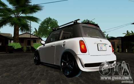 Mini Cooper S Tuned für GTA San Andreas Rückansicht