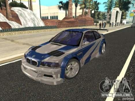 BMW M3 GTR de NFS Most Wanted pour GTA San Andreas vue intérieure